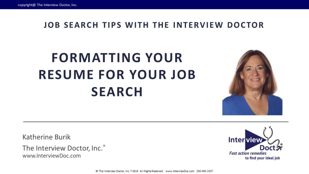 tips on formatting your resume for your job search