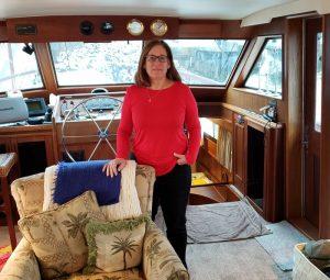 Katherine on her boat